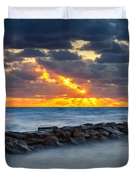 Bayside Sunset Duvet Cover by Bill Wakeley