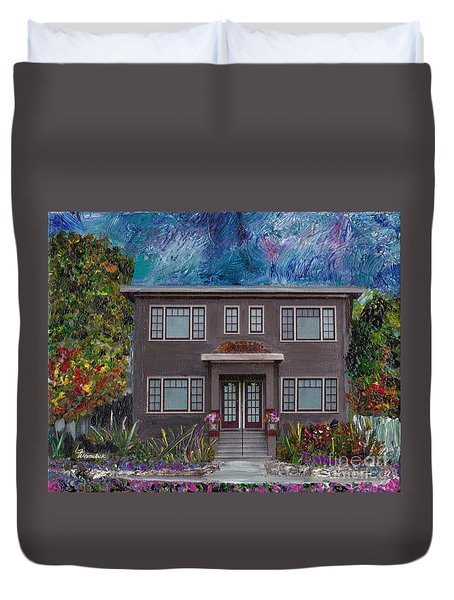 Duvet Cover featuring the mixed media Alameda Bayview 1926 - Colonial Revival by Linda Weinstock