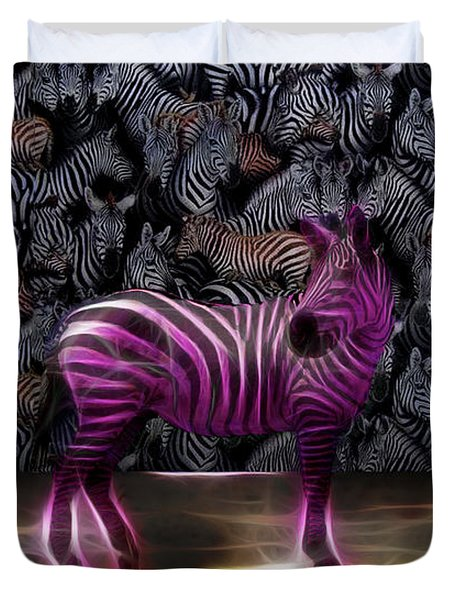 Duvet Cover featuring the photograph Be Courageous - Be Different - Zebra by Ericamaxine Price