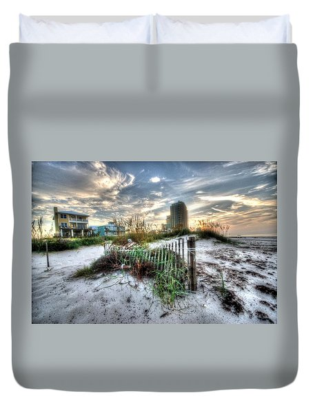 Beach And Buildings Duvet Cover