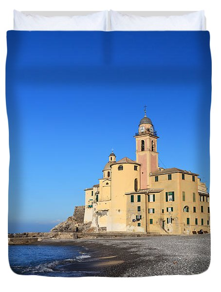 Duvet Cover featuring the photograph beach and church in Camogli by Antonio Scarpi