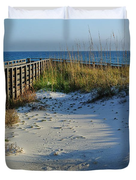Beach And The Walkway  Duvet Cover by Michael Thomas
