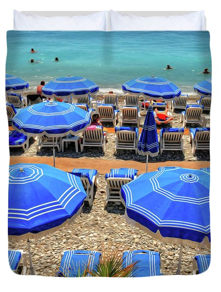 Beach At Nice France Duvet Cover