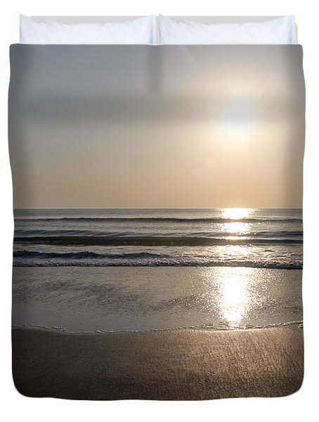 Beach At Sunrise Duvet Cover