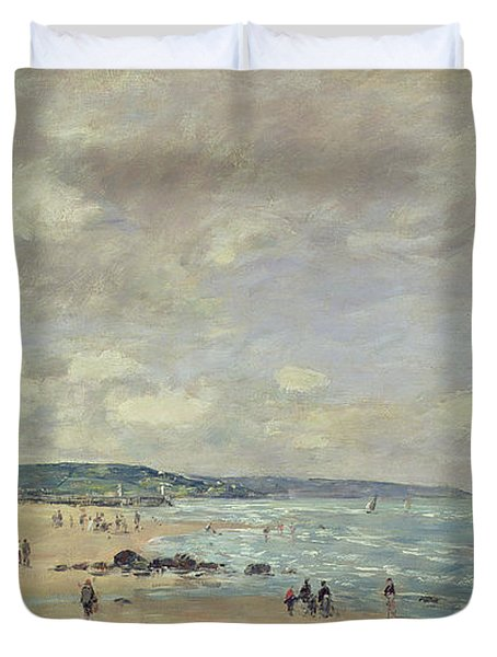 Beach At Trouville Duvet Cover