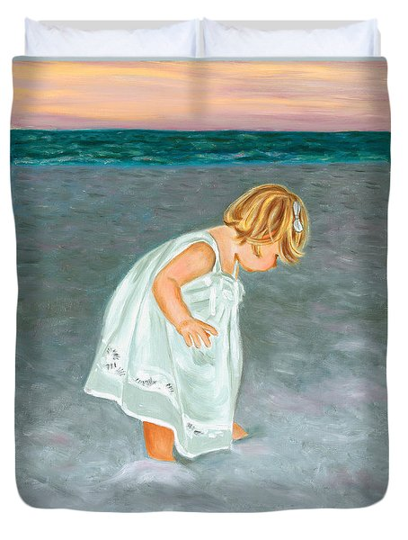Beach Baby In White Duvet Cover
