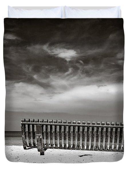 Beach Bench Duvet Cover by Dave Bowman