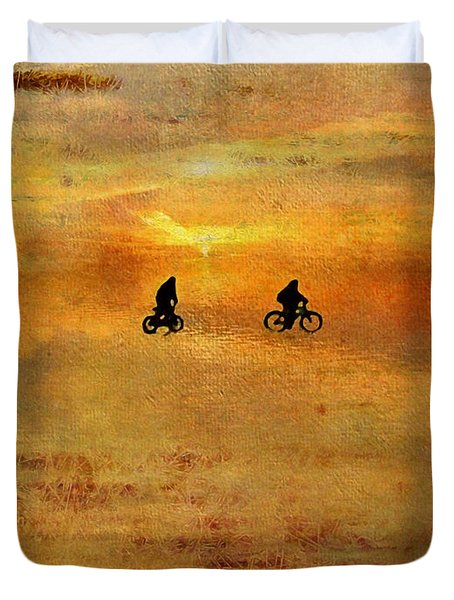 Beach Bike Too Duvet Cover