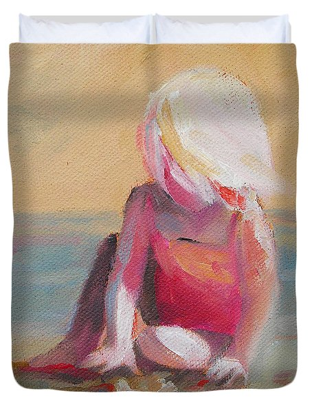 Beach Blonde Girl In The Sand Duvet Cover by Mary Hubley