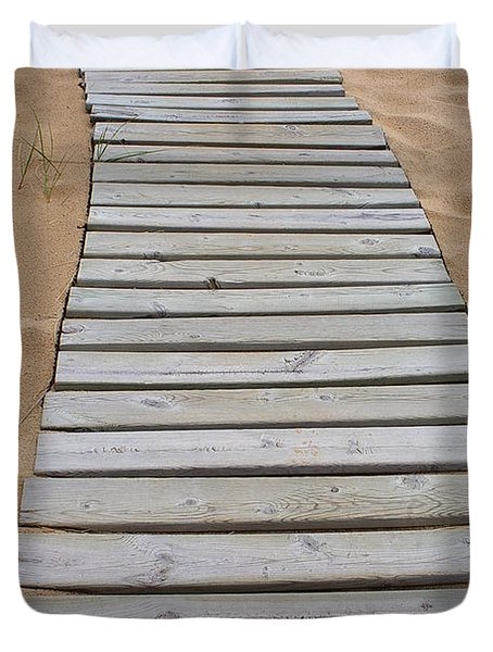 Duvet Cover featuring the photograph Beach Boardwalk by Randy Pollard