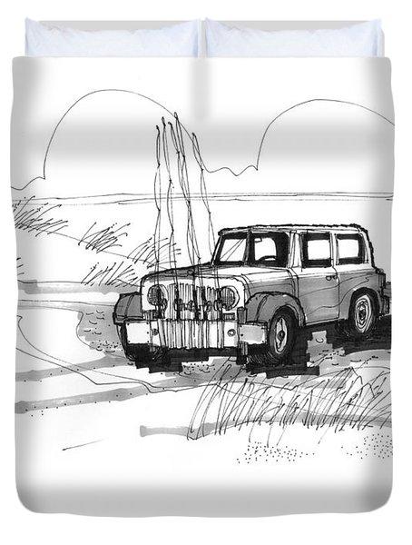 Beach Buggy Ocracoke 1970s Duvet Cover