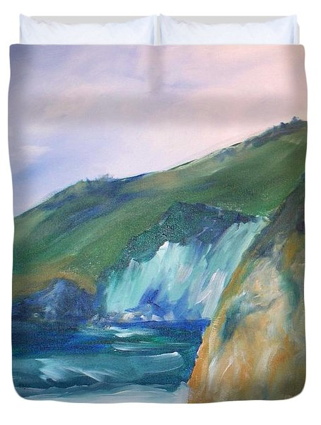 Duvet Cover featuring the painting Beach California by Eric  Schiabor