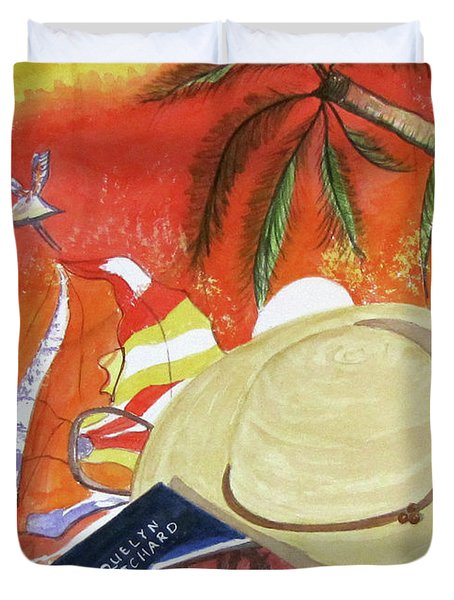 Duvet Cover featuring the painting Beach Day by Carol Flagg
