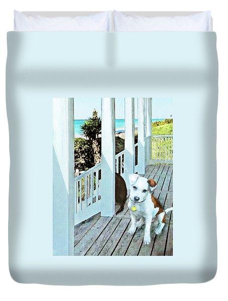 Beach Dog 1 Duvet Cover by Jane Schnetlage
