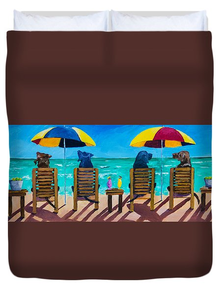 Beach Dogs Duvet Cover by Roger Wedegis