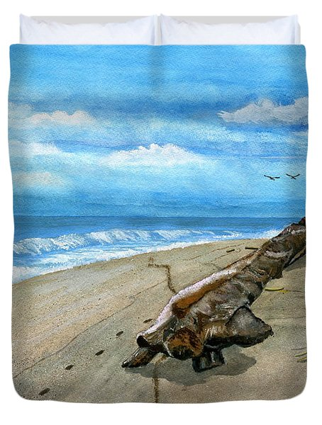 Duvet Cover featuring the painting Beach Drift Wood by Melly Terpening