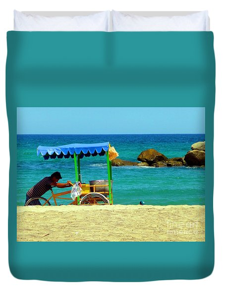 Beach Entrepreneur In San Jose Del Cabo Duvet Cover by Barbie Corbett-Newmin