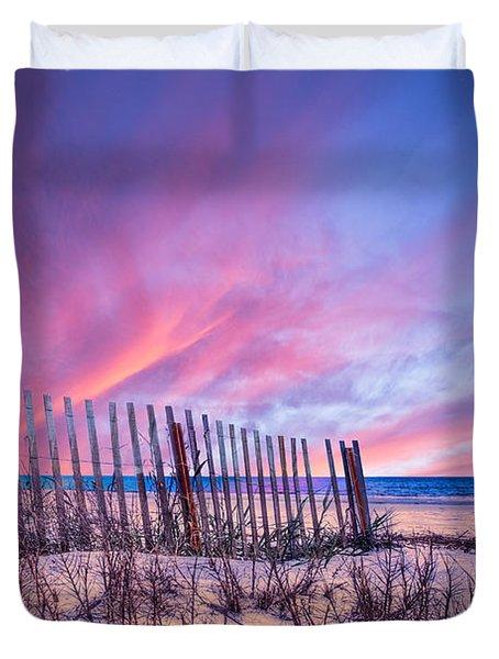 Beach Fences Duvet Cover by Debra and Dave Vanderlaan