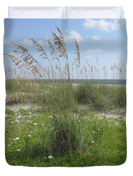 Beach Flowers And Oats 2 Duvet Cover by Ellen Meakin