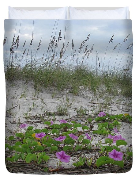 Beach Flowers Duvet Cover
