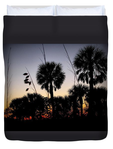 Beach Foliage At Sunset Duvet Cover by Phil Penne