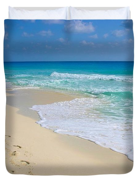 Beach Footprints Duvet Cover