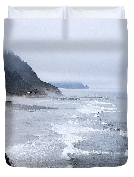 Beach Frontage In Monet Duvet Cover by Sharon Elliott
