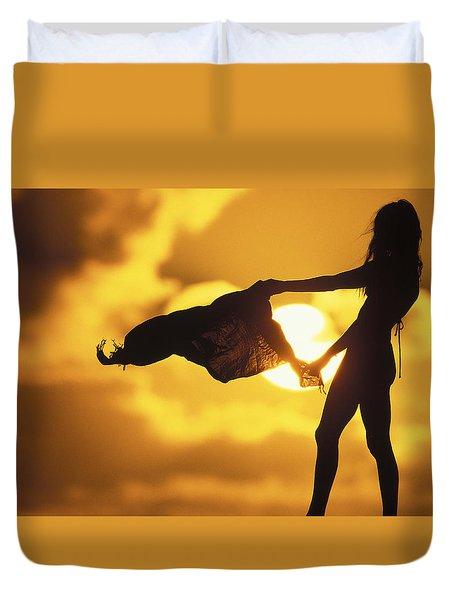 Beach Girl Duvet Cover by Sean Davey