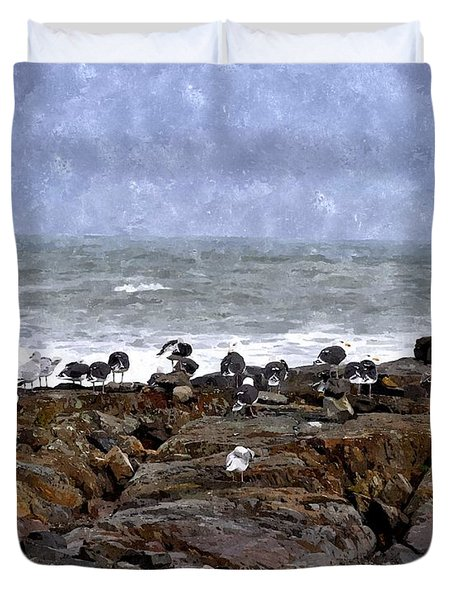 Beach Goers Bgwc Duvet Cover by Jim Brage