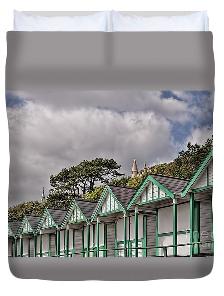 Beach Huts Langland Bay Swansea 3 Duvet Cover