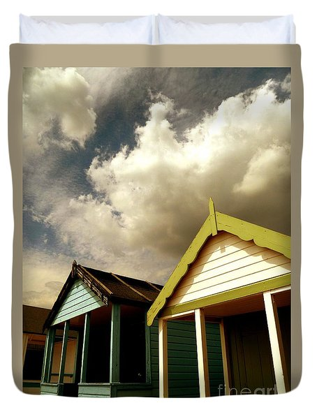 Duvet Cover featuring the photograph Beach Huts by Vicki Spindler