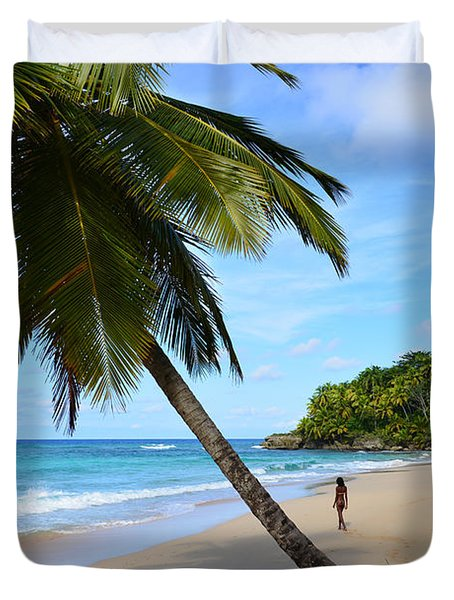 Beach In Dominican Republic Duvet Cover