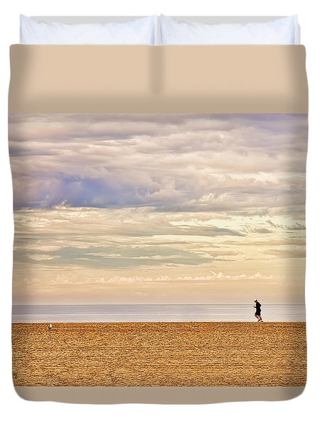 Beach Jogger Duvet Cover by Chuck Staley