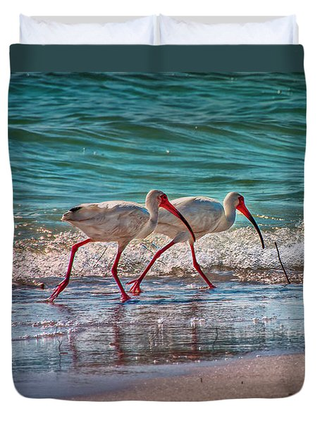 Beach Jogging In Twos Duvet Cover by Hanny Heim