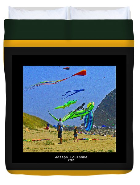 Beach Kids 4 Kites Duvet Cover