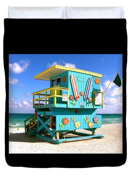 Beach Life In Miami Beach Duvet Cover