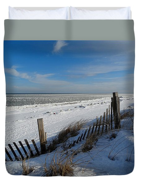Beach On A Winter Morning Duvet Cover by Dianne Cowen