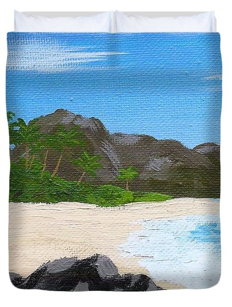 Beach On Helicopter Island Duvet Cover by Vicki Maheu