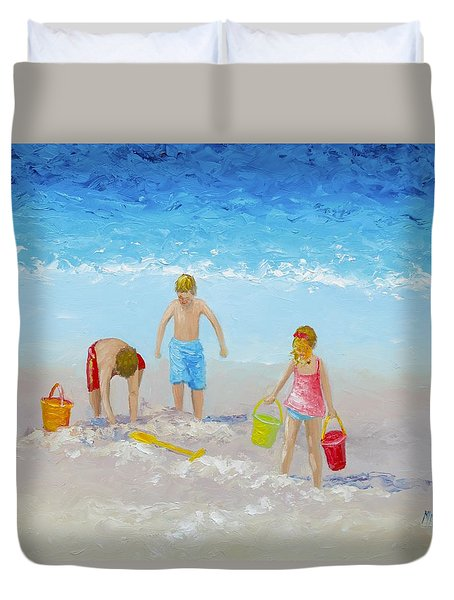 Beach Painting - Sandcastles Duvet Cover