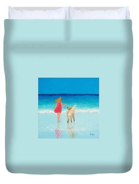 Beach Painting 'sunkissed Hair'  Duvet Cover