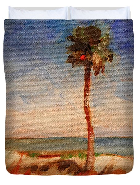 Beach Palm Tree Duvet Cover by Mary Hubley