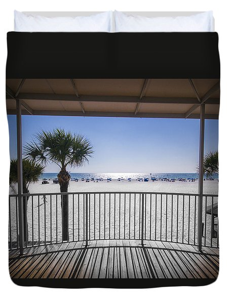 Duvet Cover featuring the photograph Beach Patio by Carolyn Marshall