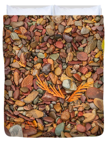 Beach Pebbles Of Montana Duvet Cover by Brenda Jacobs