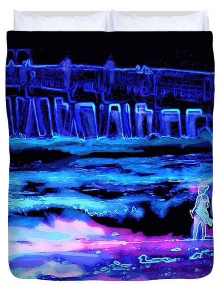 Beach Scene At Night Duvet Cover