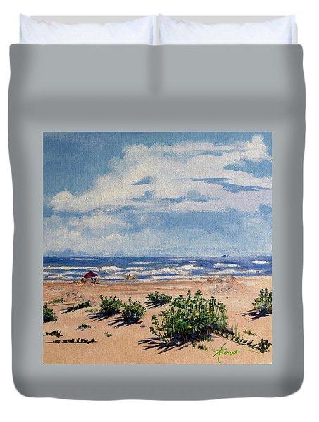 Beach Scene On Galveston Island Duvet Cover