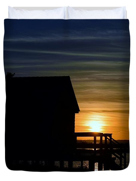 Beach Shack Silhouette Duvet Cover