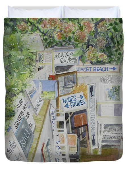 Duvet Cover featuring the painting Beach Signs by Carol Flagg