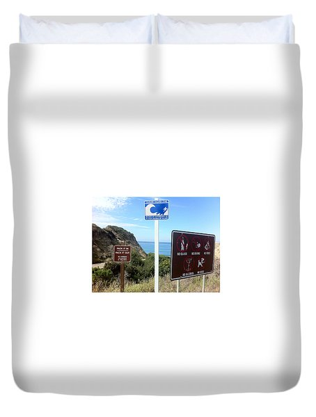 Beach Signs San Clemente Duvet Cover