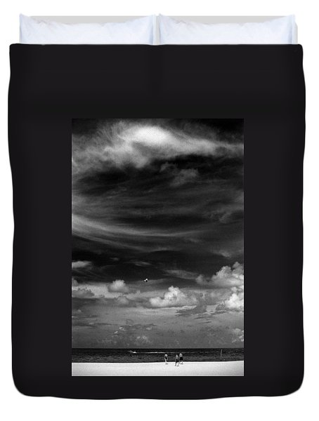 Duvet Cover featuring the photograph Beach Sky People by Christopher McKenzie