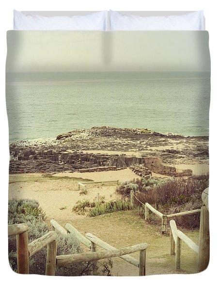 Beach Steps Duvet Cover by Elaine Teague